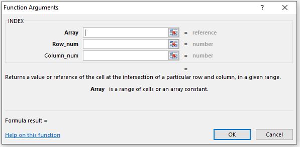 INDEX Function Parameters