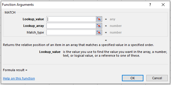 MATCH Function Parameters
