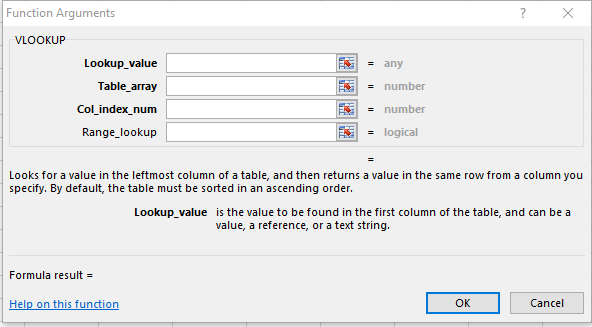 VLookup Function Parameters